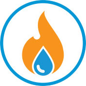 water drop and fire icon inside a circle